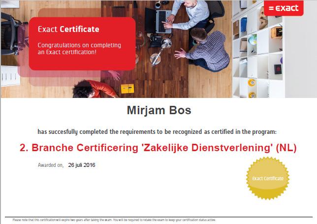 Exact Online - Branche Certificering Zakelijke Dienstverlening